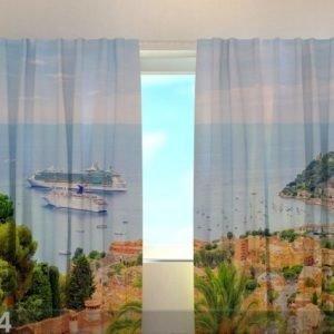 Wellmira Puolipimentävä Verho Lagoon Of Nice 240x220 Cm