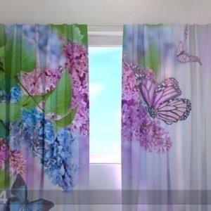 Wellmira Puolipimentävä Verho Lilac And Butterflies 240x220 Cm