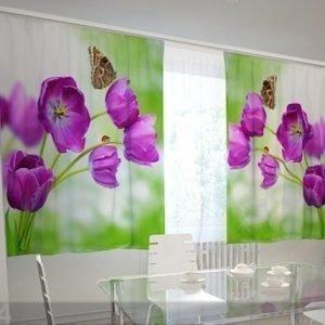 Wellmira Puolipimentävä Verho Lilac Tulips In The Kitchen 200x120 Cm
