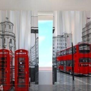 Wellmira Puolipimentävä Verho London Bus 240x220 Cm
