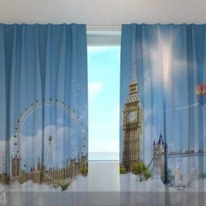 Wellmira Puolipimentävä Verho London Sky 240x220 Cm