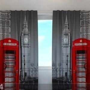 Wellmira Puolipimentävä Verho London Telephone 240x220 Cm
