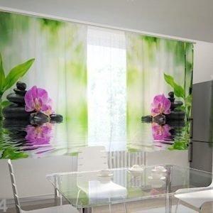 Wellmira Puolipimentävä Verho Orchids And Sun In The Kitchen 200x120 Cm