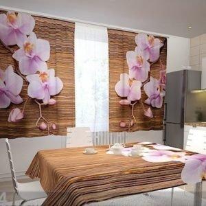 Wellmira Puolipimentävä Verho Orchids And Tree In The Kitchen 200x120 Cm