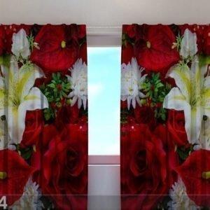 Wellmira Puolipimentävä Verho Roses And Lilies 240x220 Cm