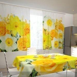 Wellmira Puolipimentävä Verho Roses And Narcissi 200x120 Cm