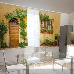 Wellmira Puolipimentävä Verho The Front In Flowers For The Kitchen 200x120 Cm