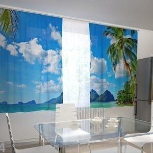 Wellmira Puolipimentävä Verho Verho Beach Behind The Window 200x120 Cm