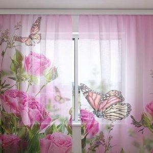 Wellmira Sifonki-Kuvaverho Butterflies And Pink Roses 240x220 Cm