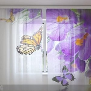 Wellmira Sifonki-Kuvaverho Crocuses And Butterflies 240x220 Cm