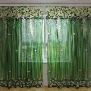 Wellmira Sifonki-Kuvaverho Flowe Lambrequins White Flowers 240x220 Cm